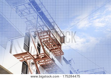 The abstract scene of real and blueprint of home building construction
