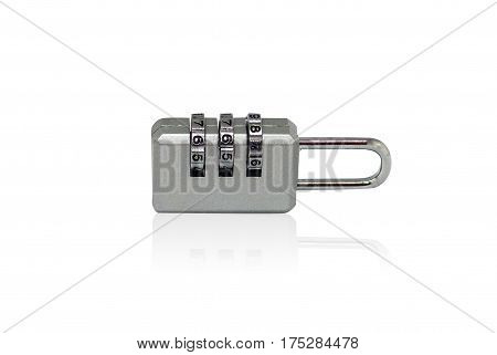 Mini key cute digit combination padlock luggage bag security lock isolated with clipping path