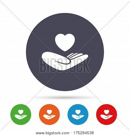 Life insurance sign. Hand holds human heart symbol. Health insurance. Round colourful buttons with flat icons. Vector