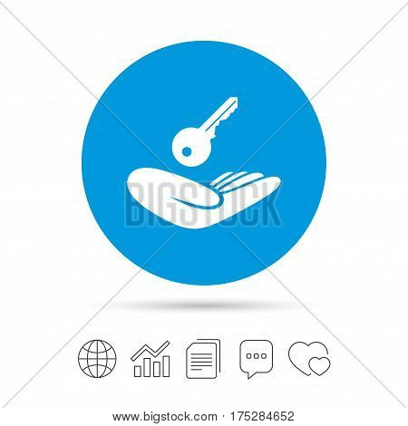 House insurance sign. Hand holds home key symbol. Insurance of property. Copy files, chat speech bubble and chart web icons. Vector