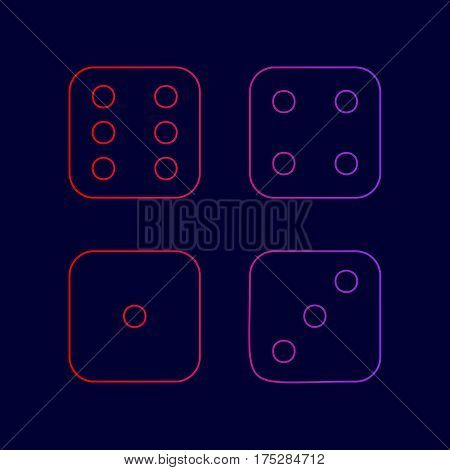 Devils bones, Ivories sign. Vector. Line icon with gradient from red to violet colors on dark blue background.