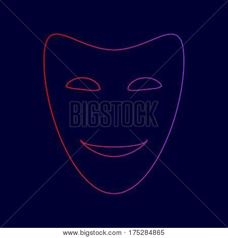 Comedy theatrical masks. Vector. Line icon with gradient from red to violet colors on dark blue background.