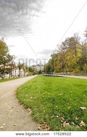 Mala Strana park in Prague during the month of October.