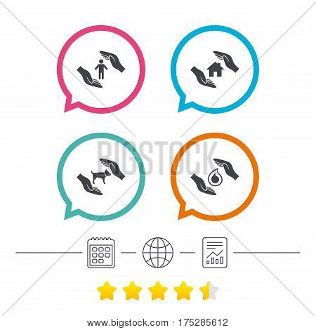 Hands insurance icons. Shelter for pets dogs symbol. Save water drop symbol. House property insurance sign. Calendar, internet globe and report linear icons. Star vote ranking. Vector