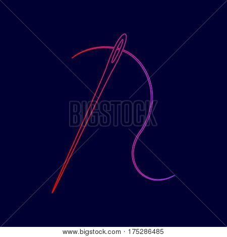 Needle with thread. Sewing needle, needle for sewing. Vector. Line icon with gradient from red to violet colors on dark blue background.