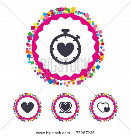 Web buttons with confetti pieces. Heart ribbon icon. Timer stopwatch symbol. Love and Heartbeat palpitation signs. Bright stylish design. Vector