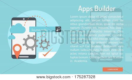 Apps Builder Conceptual Banner | Great banner flat design illustration concepts for Business, Creative Idea, Concept, Marketing and much more