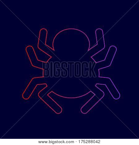 Spider sign illustration. Vector. Line icon with gradient from red to violet colors on dark blue background.