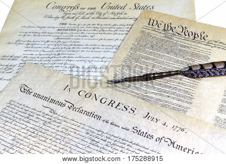 Declaration Of Independence With A Quill Pen