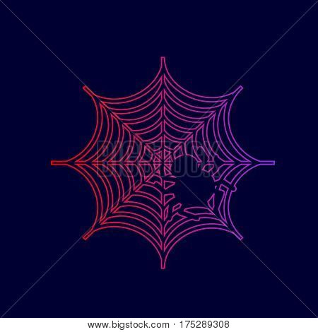 Spider on web illustration Vector. Line icon with gradient from red to violet colors on dark blue background.