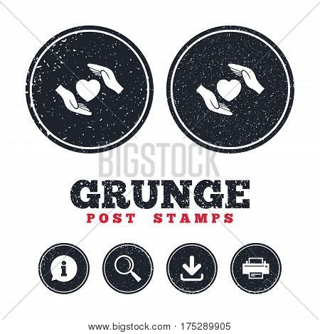 Grunge post stamps. Life insurance sign icon. Hands protect cover heart symbol. Health insurance. Information, download and printer signs. Aged texture web buttons. Vector