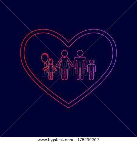 Family sign illustration in heart shape. Vector. Line icon with gradient from red to violet colors on dark blue background.