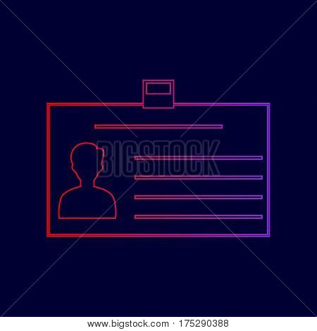 Identification card sign. Vector. Line icon with gradient from red to violet colors on dark blue background.