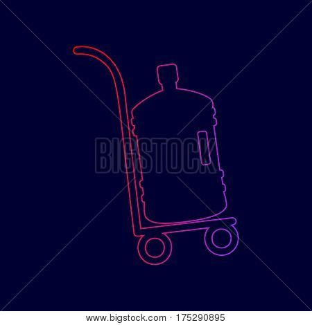 Plastic bottle silhouette with water. Big bottle of water on track. Vector. Line icon with gradient from red to violet colors on dark blue background.