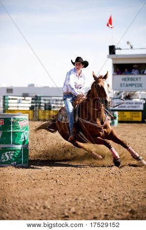 Barrel racing at a small town rodeo in Saskatchean