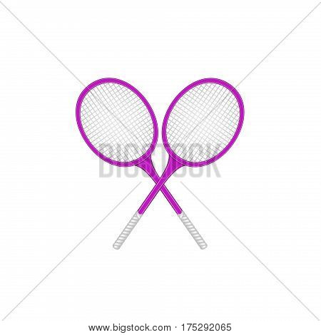 Crossed tennis rackets in retro design on white background