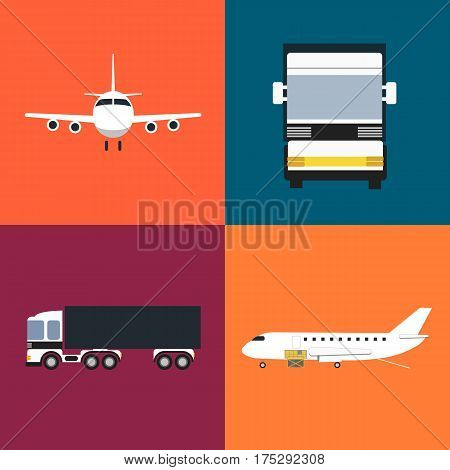 Commercial cargo transportation icons set isolated vector illustration. Loading cargo jet plane and freight truck icons. Worldwide logistics, cargo airlines, delivery transportation, freight shipment