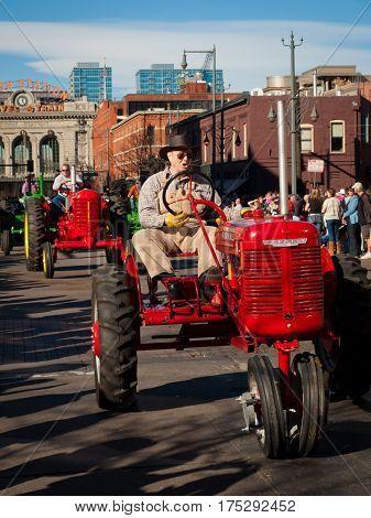 Denver Colorado-January 5 2012: Annual National Western Stock Show Parade travels up 17 Street.
