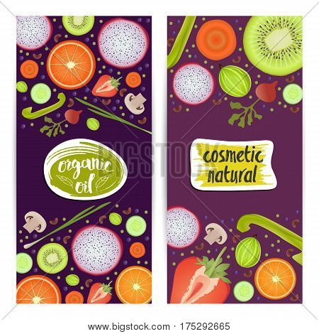 Natural cosmetics vertical flyers set vector illustration. Organic oil, natural beauty, healthy lifestyle, eco spa, bio care ingredient. Fruits and vegetables, radishes, carrots, orange, strawberry