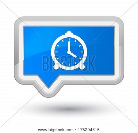 Alarm Clock Icon Prime Cyan Blue Banner Button
