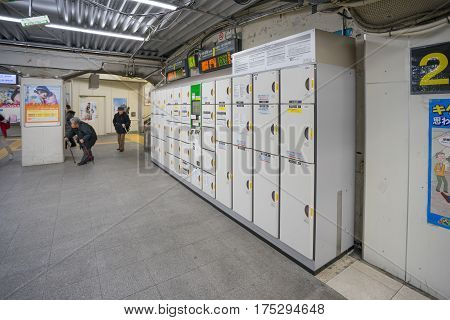 Tokyo, Japan - 17 February 2017: Coins Locker cabinet at Suidobashi station terminal. Coins Locker cabinet can use in the station