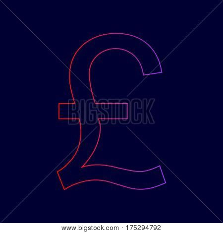 Turkish lira sign. Vector. Line icon with gradient from red to violet colors on dark blue background.