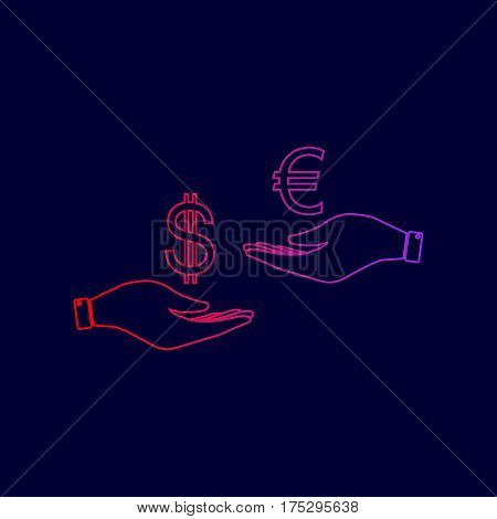 Currency exchange from hand to hand. Dollar adn Euro. Vector. Line icon with gradient from red to violet colors on dark blue background.