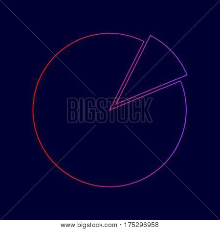 Finance graph sign. Vector. Line icon with gradient from red to violet colors on dark blue background.