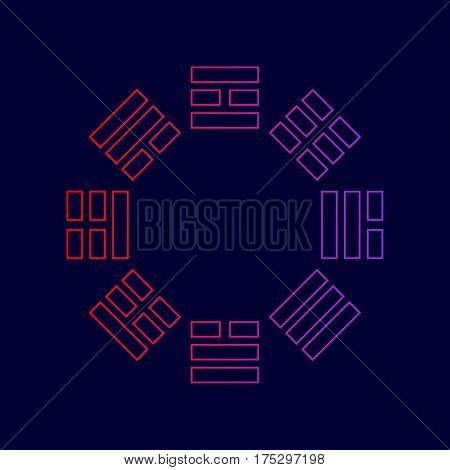 Bagua sign. Vector. Line icon with gradient from red to violet colors on dark blue background.
