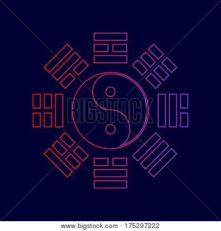 Yin and yang sign with bagua arrangement. Vector. Line icon with gradient from red to violet colors on dark blue background.