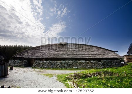 A viking longhouse on the coast of Norway