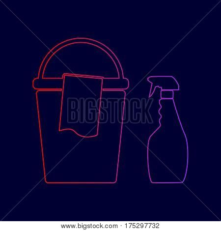 Bucket and a rag with Household chemical bottles. Vector. Line icon with gradient from red to violet colors on dark blue background.