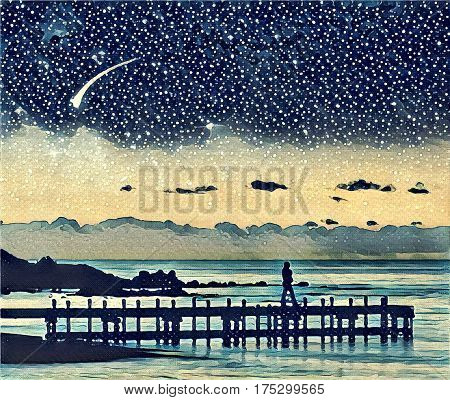 Fantasy illustration artwork landscape - silhouette of a woman walking on pier admiring stars in the sky