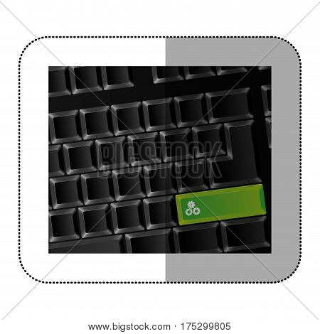 back computer keyboard with gear symbol icon, vector illustraction
