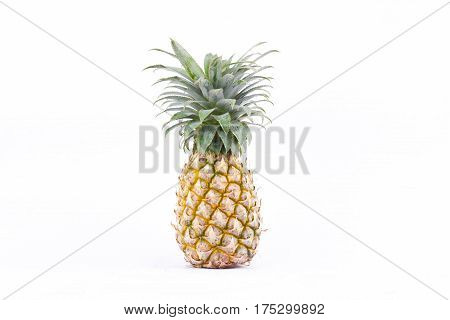ripe  pineapple (Ananas comosus) on white background healthy pineapple fruit food isolated
