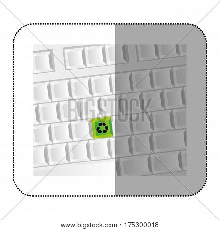white computer keyboard with recycle symbol icon, vector illustraction design
