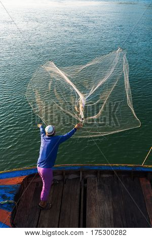Muslim Fisherman Fishing Nets,Andaman Sea off the coast, Ranong Southern Thailand