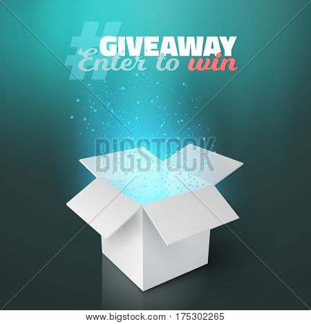Illustration of Vector White Box Giveaway Competition Template. Open Box with Confetti and Magic Light Enter to Win Prize Concept