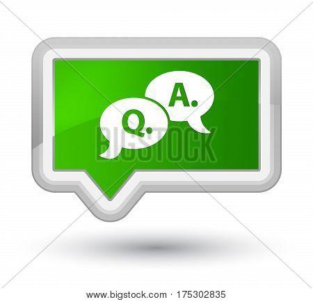 Question Answer Bubble Icon Prime Green Banner Button