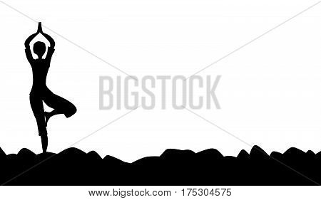 The tree asana being posed in silhouette over a white background
