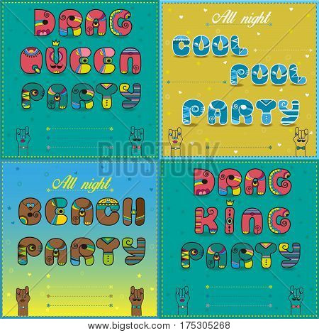 Invitations to party. Vintage artistic font. Drag Queen party. Drag king party. Beach party. Cool pool party. Cartoon hands looking at each other. Place for custom text. Illustration