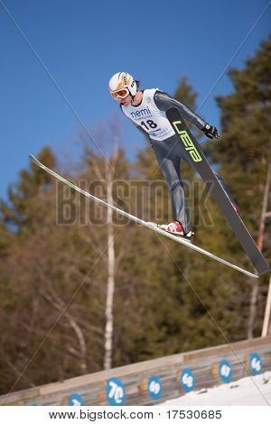 VIKERSUND, NORWAY - MARCH 13: CAMEROTA Eric of USA in the FIS World Cup Nordic Combined on March 13, 2009 in Norway.
