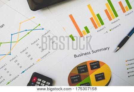 Business Summary Or Business Plan Report With Charts And Graphs In Business Concept, Vintage Style.