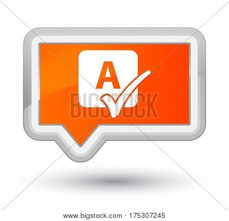 Spell Check Icon Prime Orange Banner Button