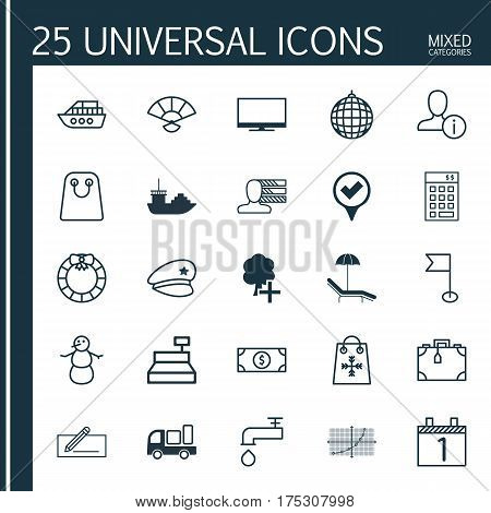 Set Of 25 Universal Editable Icons. Can Be Used For Web, Mobile And App Design. Includes Elements Such As Spigot, Ensign, Checked Pointer And More.
