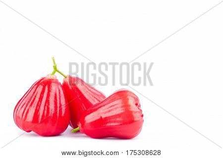 red rose apple  on white background healthy rose apple fruit food isolated