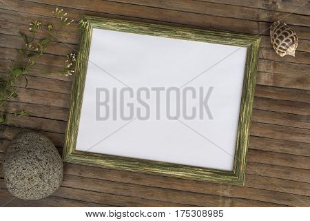 Horizontal frame with white blank page photo background. Rustic wooden board backdrop with natural decor. Vintage flat lay composition with place for text or artwork. Shabby chic design template