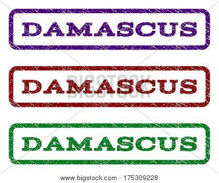 Damascus watermark stamp. Text tag inside rounded rectangle frame with grunge design style. Vector variants are indigo blue, red, green ink colors. Rubber seal stamp with scratched texture.
