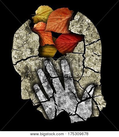 Dementia depression old age. Stylized male head silhouette holding his head.Photo-montage with Dry cracked earth and autumn leaves symbolizing Depression, old age, dementia.