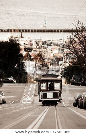A San Francisco cable car desending down Hyde Street